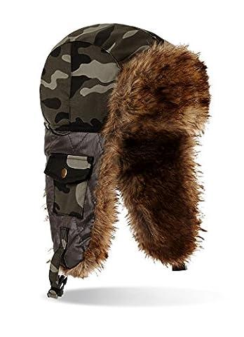 Bonnet aviateur Chapka avec fausse fourrure chaud dans Bonnet Camouflage Camouflage (Russe avec protection d'oreille), camouflage, Taille