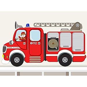 """Wandtattoo""""Feuerwehrauto rund XXL"""" Wandaufkleber Feuerwehrwagen für Junge Kinderzimmer individualisierbar"""
