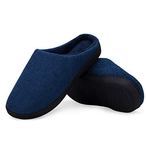 LeKuni Unisex Hausschuhe Memory Foam Pantoffeln Plüsch Wasserdicht, Gr.- 46-47 EU, Blau