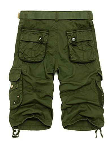 MENSCHWEAR Uomo Pantaloncini corti Bermuda Cargo short con tasconi laterali con cintura militare-verde
