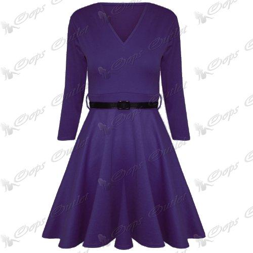 Pure Fashion Damen Skater-Kleid Mehrfarbig Purple - Mini Short Girls Casual Sexy College Wear