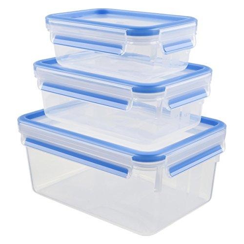 Tefal K3028912 - Masterseal Fresh - Boîte plastique de conservation alimentaire - Set 3 boîtes 2.30L+1L+0.55L - Bleu