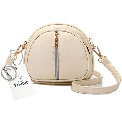 Yoome retrò Lichee modello piccolo borsa a traina borsa a tracolla in pelle borse per donne - crema Crema