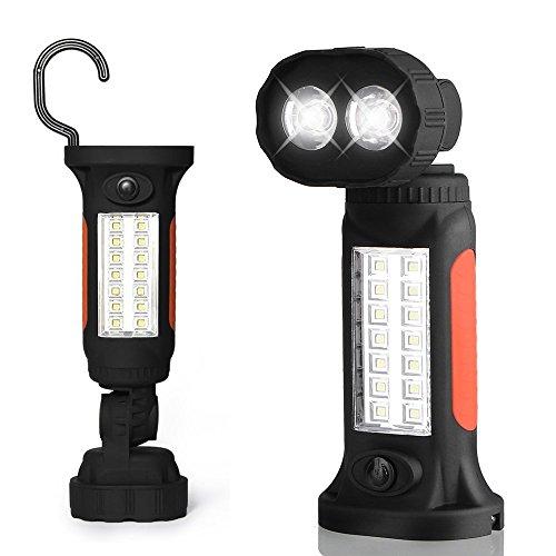 Lampe Torche LED ThorFire Lampe de Travail 3W COB Lampe de Poche Mains-Libres avec Base Forte d'Aimant, Intégrée à Suspendre et Crochet pour Auto, Garage, Maison, en Plein Air, Chasse, Pêche, Urgences et plus