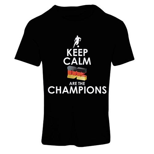 Frauen T-Shirt Deutsche sind die Champions - Russland-Meisterschaft 2018, WM-Fußball, Team von Deutschland Fan-Shirt (Medium Schwarz Mehrfarben) (Bälle Fitted T-shirt)