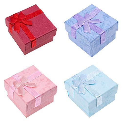 aiyinhuofen Geschenkboxen mit Schleife für Halskette, Armband, Ohrringe, Ring, Geschenk-Box für Heimdekoration