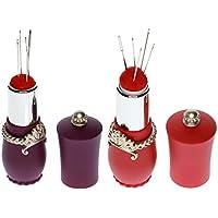 Sharplace 2 Piezas Alfiletero Cojín de Alfiler Agujas de Coser (Forma Lápiz de Labios) Herramienta para Costura Bordado - Púrpura y Rojo