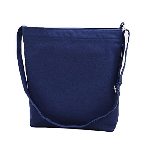 Miaomiaogo Sacchetti della borsa della spalla della tela di canapa di colore solido semplice Letterario Borse piccole delle nuove donne fresche blu scuro