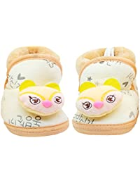 Neska Moda Baby Unisex Soft Cream Cotton Fur Booties/Shoes For 0 To 12 Month-BT105