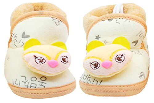 Neska Moda Baby Boys & Girls Soft Cream Cotton Fur Booties For 0 To 12 Month-BT105