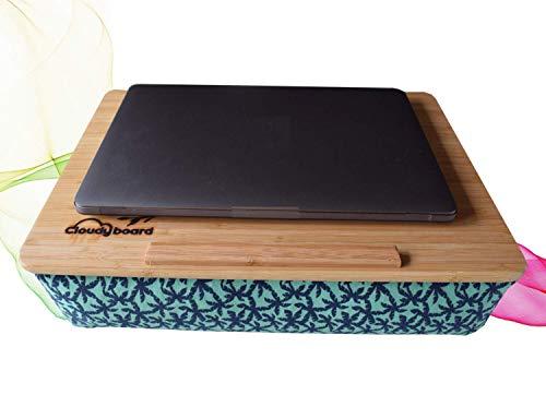 Cloudyboard Laptray Knietablett Laptop-Kissen Notebook mit Kissen aus Bambusholz (Palmen Grün) -