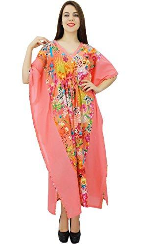 Phagun Kaftan Longue Maxi Floral Imprimé Coton Vêtements Caftan Nuit Women Dress Multicolore