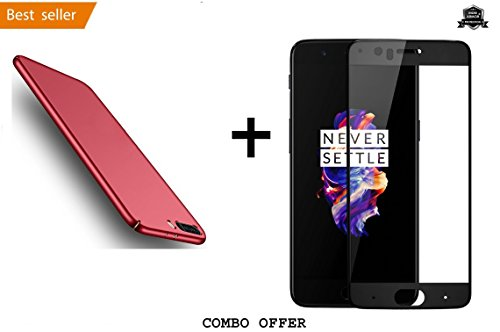 "Buy 1 Get 1 Free : Mobi Armor® All Sides Protection ""360 Degree"" Sleek Rubberised Matte Hard Case Back Cover For OnePlus 5 - Maroon Wine Red + 2.5D curved 3D Tempered Glass Mobile Screen Protector ( Black) by Mobi Armor®"