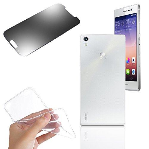 Silikon Case Schutzhülle Handytasche + Panzerglasfolie für Huawei Shot X / ShotX (transparent)- EximMobile