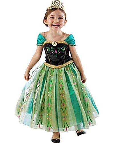 Kinder Kostüm Anna Eiskönigin Prinzessin Kleid Grün Mädchen Costume 4-10 Jahre - ()