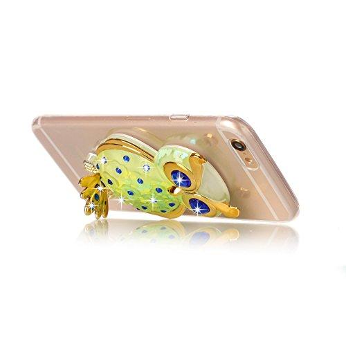 Coque iPhone 6s Plus Paillette, LuckyW Housse Etui TPU Silicone Clear Clair Transparente Gel Slim Case pour Apple iPhone 6 Plus/6s Plus (5.5 pouces) Bling Glitter Briller Sparkle Éclat Flowing Fluide  Vert