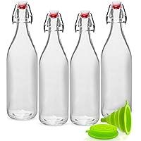 GUADONA Lot de 4 bouteilles de boisson (eau, jus, lait, bière, etc.) en verre transparent avec bouchons balançoires anti-fuites + Entonnoir Pliable en Silicone de Haute qualité. (1000ml)