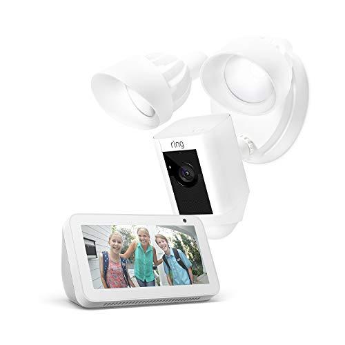 Ring Floodlight Cam, White + Echo Show 5, White, Works with Alexa