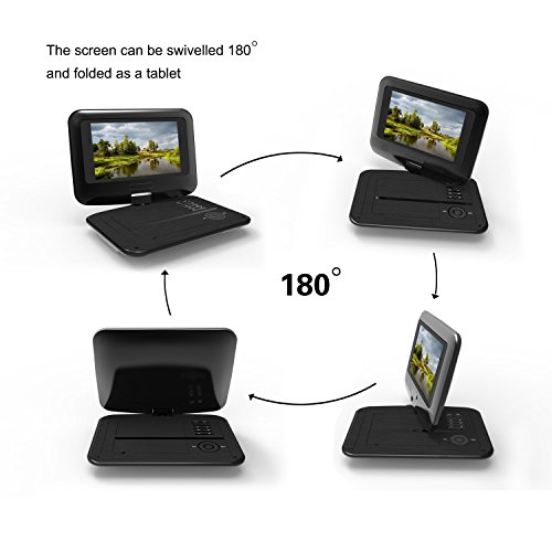 Portable DVD Player with Swivel Screen Built-in Rechargeable Battery 9 5  Digital Player for Car Supports SD Card and USB