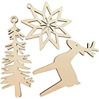 VORCOOL 3pcs / Set Adornos Colgantes de Navidad Hueco de Madera de Copo de Nieve árbol Ciervos Adornos de diseño