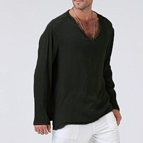 er T Shirt Solides Thai Hippie Shirt V Ausschnitt Strand Yoga Top Bluse Schwarz XL ()