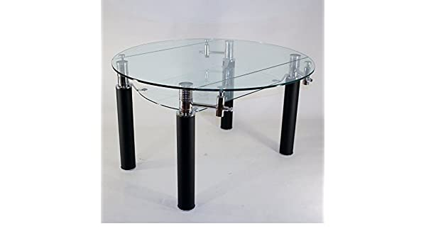 Clear seat table en verre ronde à rallonge extensible nero Ø 130