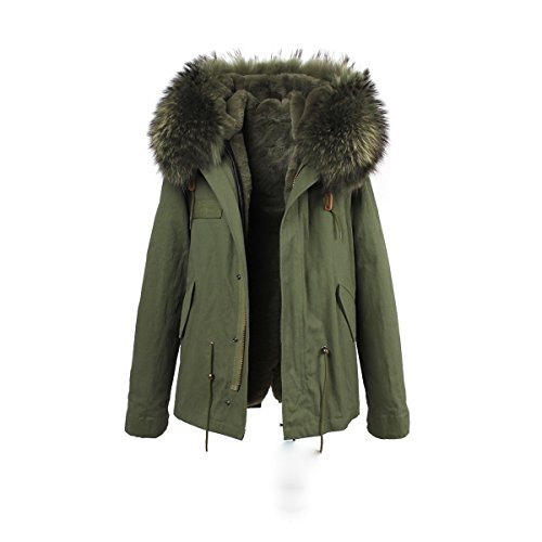 Lea Marie Damen Parka XXL Kragen aus 100% ECHTPELZ ECHTFELL Jacke Mantel KURZ Khaki 9 Farben (XXXL, Khaki) -