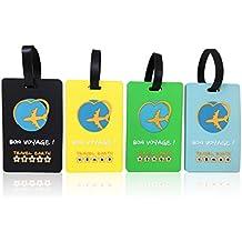 Etiqueta de equipaje ✮ Travel Earth ✮ Lote de 3 etiquetas de equipaje para bolsa de viaje o maleta. GRATIS : 30 tarjetas de identificación personalizadas. Con correa de fijación. Ideal en avión