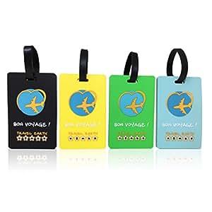 Lot de 4 étiquettes de valise souple incassable ✮ Travel Earth ✮ Ensemble de 4 étiquettes bagage de voyage pour sac ou valise. 30 porte-nom personnalisés à télécharger + Sangle de fixation incluse !