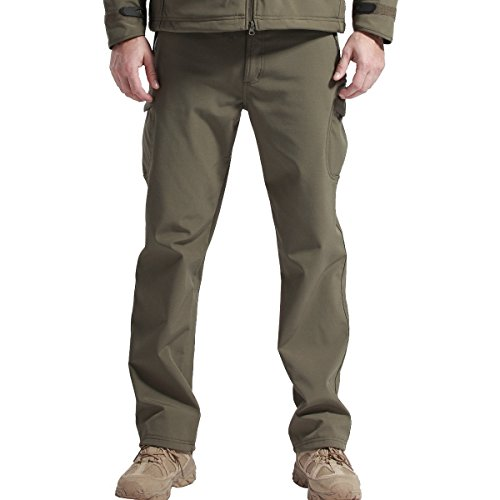 FREE SOLDIER Outdoor vollständig Herren Softshell Fleece gefüttert Walking Hose wasserdicht winddicht Warm Winter Hose(Grün XXL) (Golf Shorts Boys)