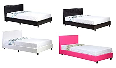 3ft Single Low Frame Faux Leather Bed Black Brown Pink White + Mattress Options - Memory Foam, Sprung, Pocket Spring, Economy - cheap UK light shop.