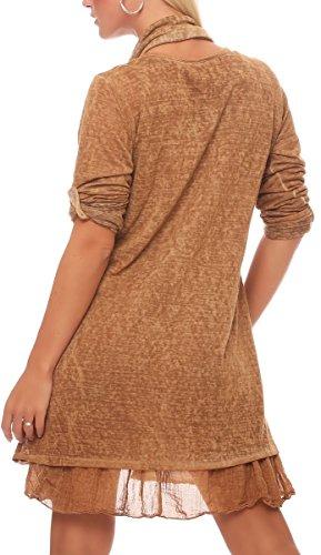 malito Robe avec écharpe Cardigan Irregular Gilet Veste Enrouler Boléro Pulls Casual 6283 Femme Taille Unique camel brun