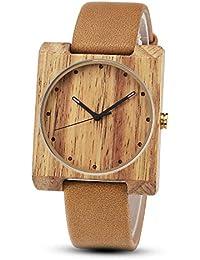 0ada74fcb84f Reloj de pulsera de cuarzo cuadrado de madera natural creativa