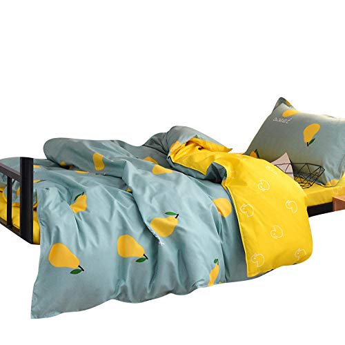 Anmou Bettwäsche-Set Stück Bettbezug + 2 Stück Kissenbezug + 1 Stück Blatt, Birne niedlichen Cartoon Vier Stück Bettbezug Bettwäsche-Set@2,0 m vierteiliges Set (Birne-installer)