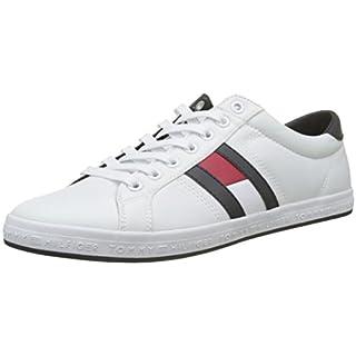 Tommy Hilfiger Herren Essential Flag Detail Sneaker, Weiß (White 100), 44 EU