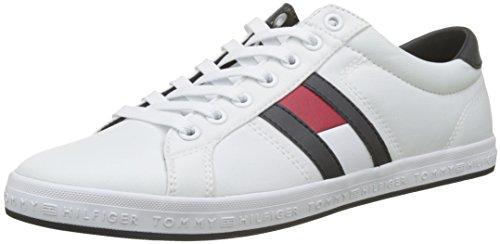 Tommy Hilfiger Herren Essential Flag Detail Sneaker Weiß (White 100) 44 EU Details Sneaker