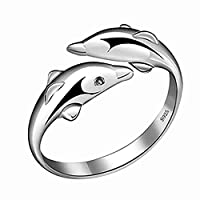 MSYOU Alloy Ring Creative Dolphin Shape Ring Jewellery Gifts for Ladies Women Girls(Silver)