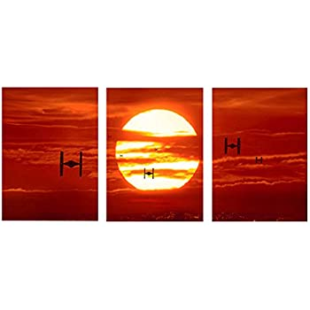 tie fighters sunset star wars leinwand kunstdruck art wand bild leinwand prints 76 2 x 40 6 cm. Black Bedroom Furniture Sets. Home Design Ideas