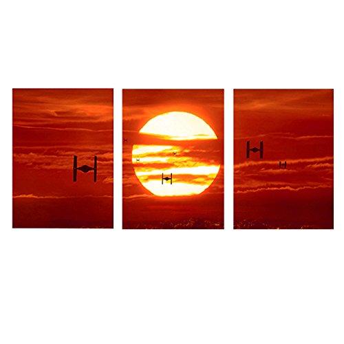 MOXO Red Sunset Bilder Prints auf Leinwand Tie Fighters Sunset Leinwand Gemälde Art Wand