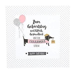 Depesche 8211.034Tarjeta de felicitación Glamour con Ornamento y Purpurina, cumpleaños