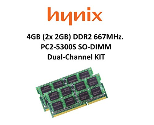 Hynix 4GB Dual-Channel KIT (2x 2GB) DDR2 667Mhz PC2-5300 200pin SO DIMM Notebook Arbeitsspeicher 3rd Memory (5300 667mhz Ddr2 Dual Channel)