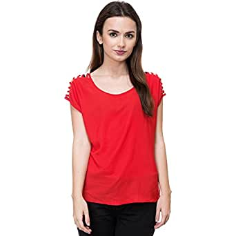 Deewa Red Polycrepe Round Neck Casual Tops for Women (DWS362R_S)