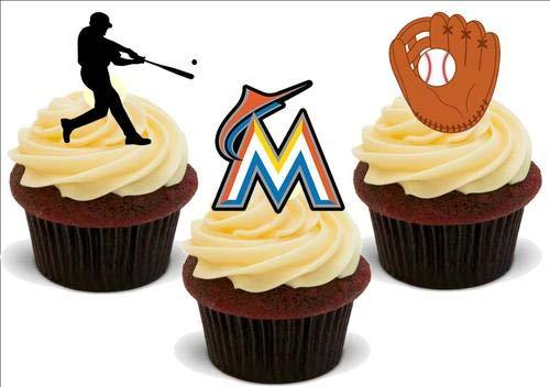 ns Mix - 12 essbare hochwertige stehende Waffeln Karte Kuchen Toppers Dekorationen, Baseball Miami Marlins Mix - 12 Edible Stand Up Premium Wafer Card Cake Toppers Decorations ()