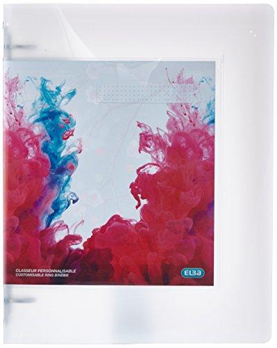 ELBA 400058511 Kunststoff-Ringbuch polyvision Maxi DIN A4 4 Ring-Mechanik 3 cm breit Präsentations-Ordner Ring-Buch Hefter Plastikordner transparent