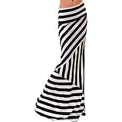 Maxi Falda De La Impresión De La Raya De Las Mujeres Faldas Con Vuelo Cintura Alta Como la imagen 2XL