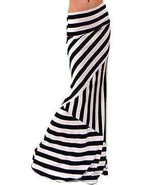 Maxi Falda De La Impresión De La Raya De Las Mujeres Faldas Con Vuelo Cintura Alta