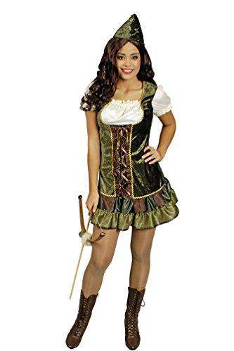 Karneval-Klamotten Robin Hood Kostüm Damen sexy kurz Damen-Kostüm Lady Marian grün-braun-Creme inkl. Hut Größe 34 (Robin Hood Sexy Kostüm)