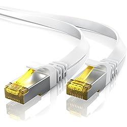 7,5m CAT 7 Câble réseau plat - Câble Ethernet - Gigabit réseau local LAN 10 Gbps - Câbles de connexion patch - Câbles plats - Câbles de pose - Câble CAT.7 brut Blindage U FTP PIMF avec fiche RJ 45