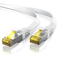 10,0m - CAT.7 Cavo di rete piatto | Ethernet Gigabit Lan (RJ45) | 10/100/1000Mbit/s | Cavo patch | U/FTP | compatibile con CAT.5 / CAT.5e / CAT.6 | Switch / Router / Modem | bianco
