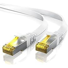 30,0m CAT.7 Cable de red plano | Cable de conexión a Ethernet Lan (RJ45) | 10/100/1000Mbit/s | U / FTP | Compatible con CAT.5 / CAT.5e / CAT.6 | Conmutador / router / módem | blanco